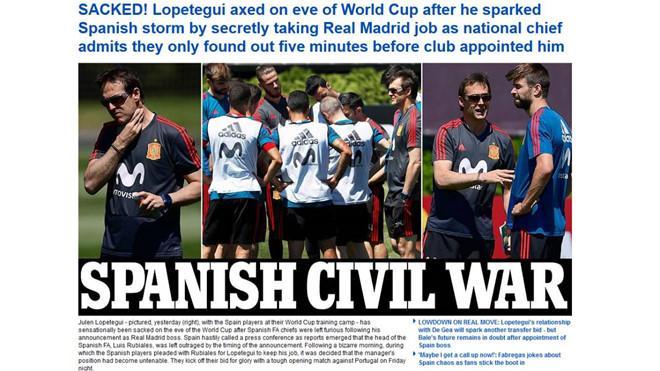 Báo Anh gọi vụ lùm xùm ở tuyển Tây Ban Nha là cuộc nội chiến. Ảnh: Daily Mail.