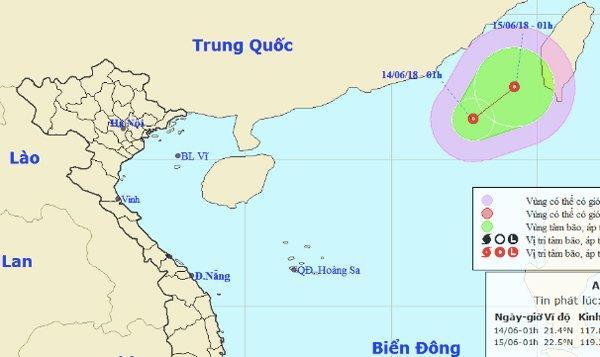 Vùng áp thấp đã mạnh lên thành áp thấp nhiệt đới vào rạng sáng nay. Ảnh: NCHMF