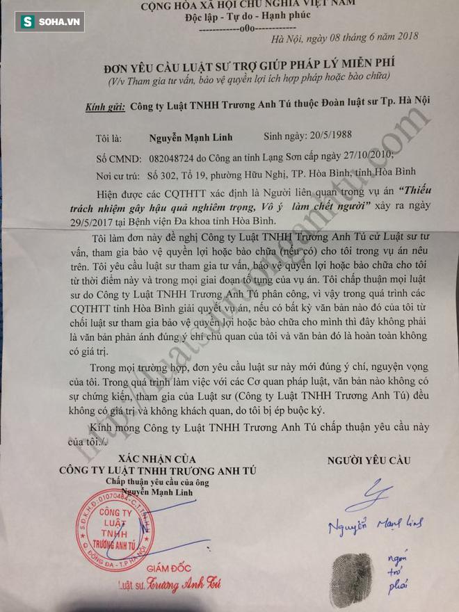 Đơn yêu cầu luật sư trợ giúp pháp lý hợp pháp của BS Nguyễn Mạnh Linh.
