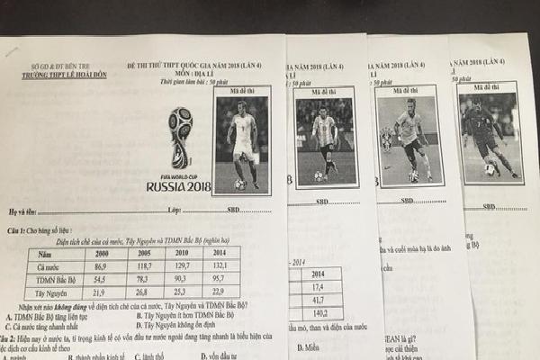 Thầy giáo Bến Tre tái xuất siêu cute với đề thi in hẳn logo và hình các cầu thủ hot nhất World Cup
