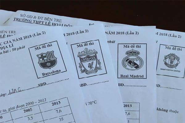 Thầy giáo Địa Lý dùng tên các CLB bóng đá hàng đầu làm mã đề thi cho mới lạ