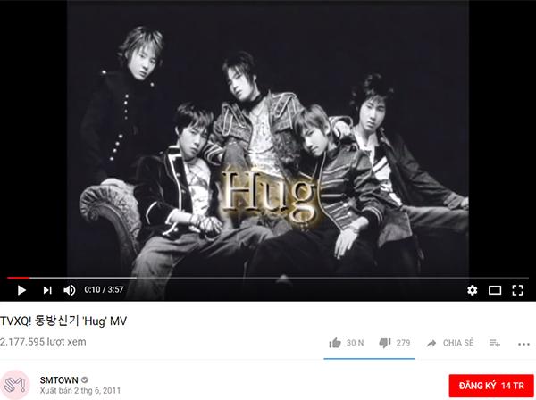 Là MV debut của nhóm nhạc 15 năm tuổi nhưng Hug mới chỉ được hơn 2 triệu view