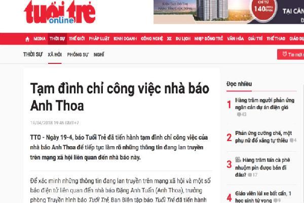 Tuổi Trẻ tạm đình chỉ nhà báo Anh Thoa để xác minh nghi vấn xâm hại tình dục