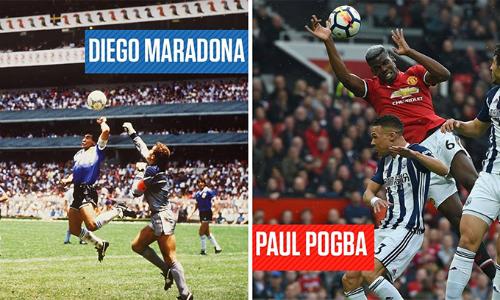 Pogba bị chế giễu vì pha chơi bóng bằng tay.