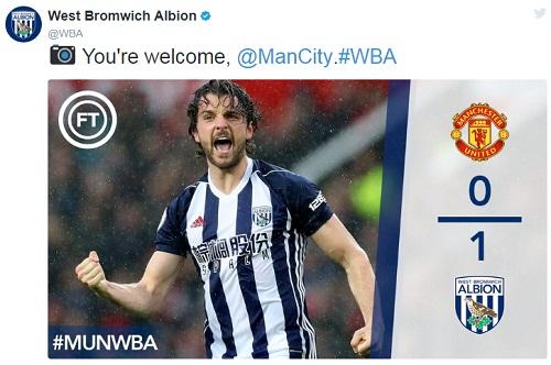 Twitter của West Brom nhắn nhủ đến Man City sau trận thắng của đội nhà.