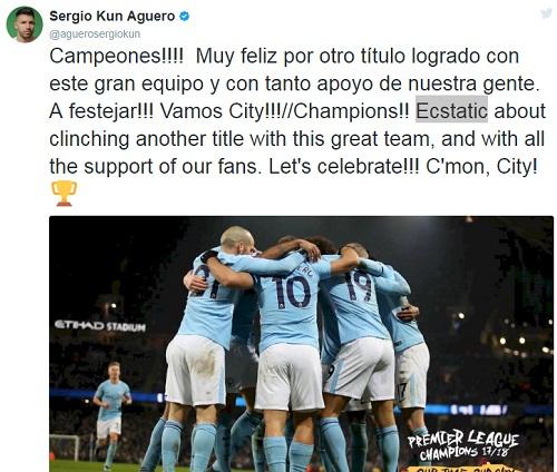 Aguero đăng ảnh chia vui cùng đồng đội.