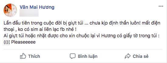 Dòng trạng thái Văn Mai Hương chia sẻ trên facebook cá nhân.