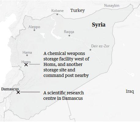 Các địa điểm bị không kích nằm tại Damascus và Homs. Đồ họa: Guardian.