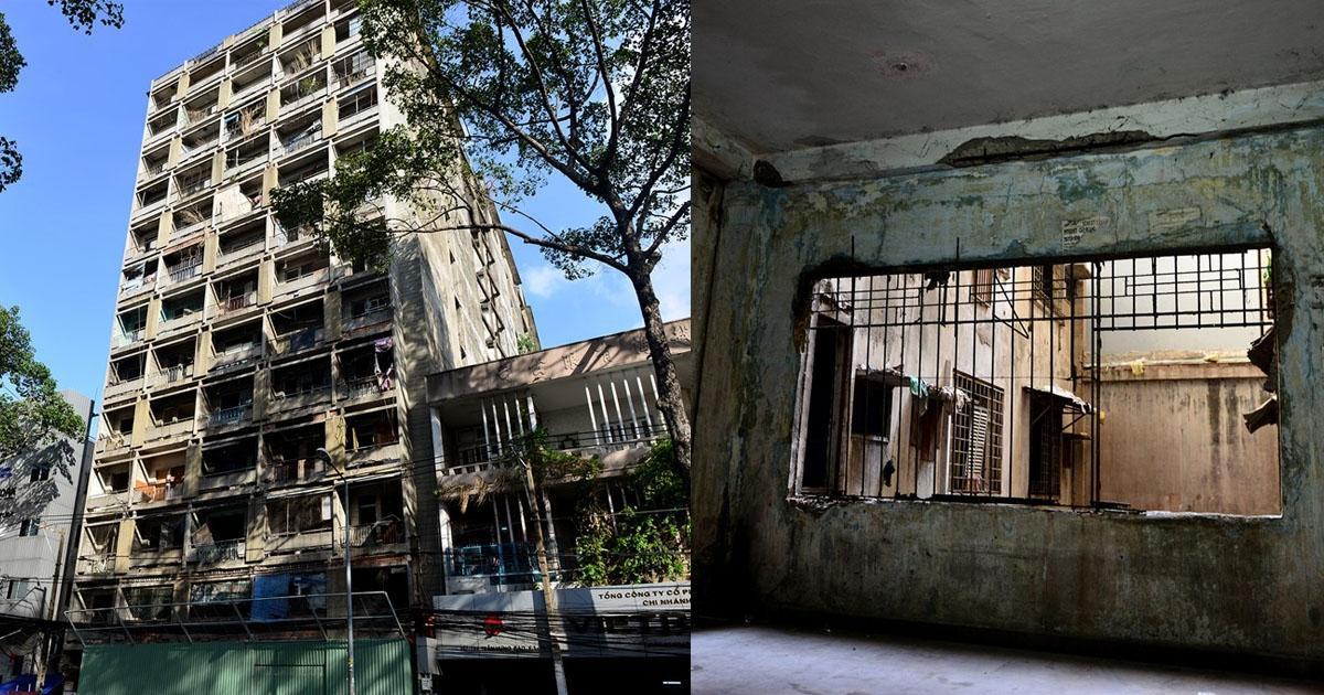 Vẻ ngoài cũ kỹ và hoang tàn của chung cư 727 Sài Gòn (Ảnh: Internet)
