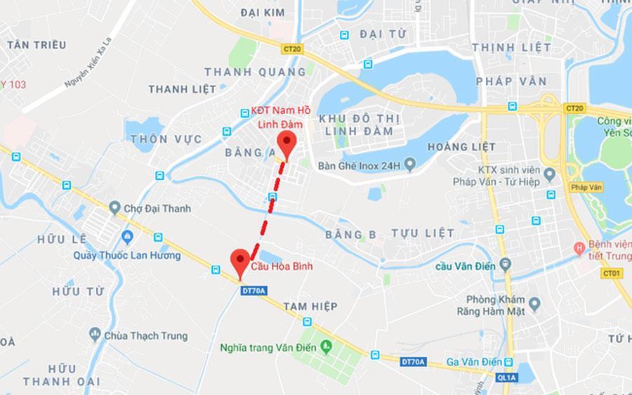 Đường nối khu đô thị Nam Hồ Linh Đàm với cầu Hòa Bình được xây dựng sẽ tác động mạnh mẽ lên hạ tầng giao thông khu vực phía Nam Hà Nội.