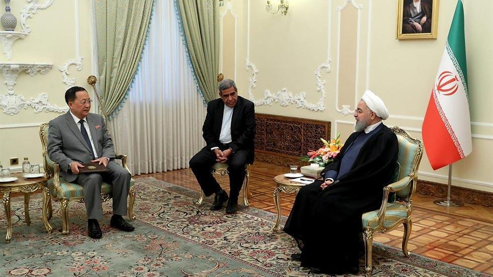 Ngoại trưởng Triều Tiên Ri Yong-ho trong cuộc gặp với Chủ tịch Quốc hội Iran Ali Larijani. Ảnh: Yonhap
