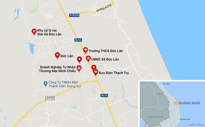 Xã Đức Lân, huyện Mộ Đức (Quảng Ngãi), nơi người tham gia đánh bạc sát phạt giữa rừng keo. Ảnh: Google Maps.