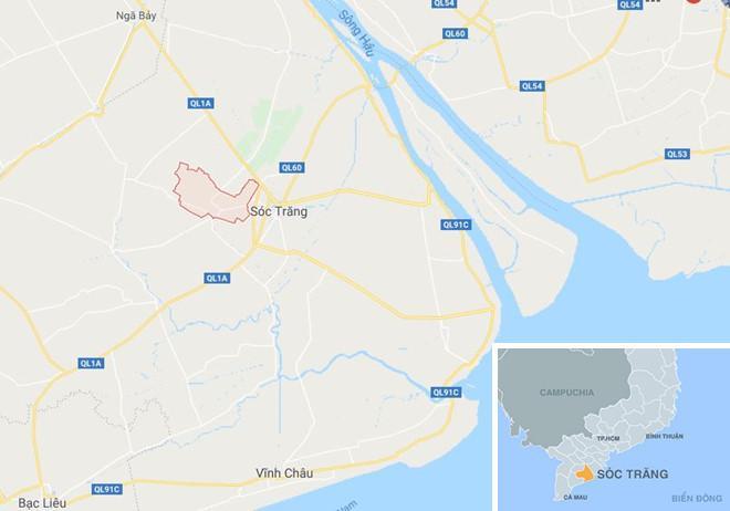 Xã An Ninh (màu đỏ) ở Sóc Trăng. Ảnh: Google Maps.
