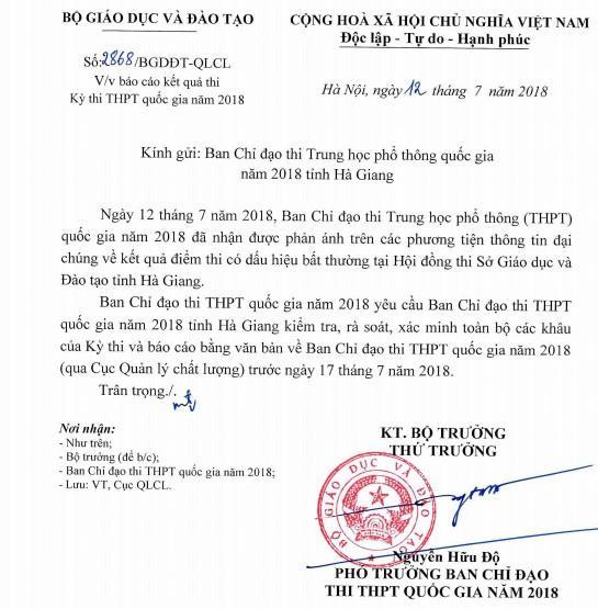 Bộ GD&ĐT yê cầu Ban chỉ đạo thi THPT quốc gia năm 2018 tỉnh Hà Giang rà soát, xác minh các khâu của kỳ thi. Ảnh chụp màn hình.