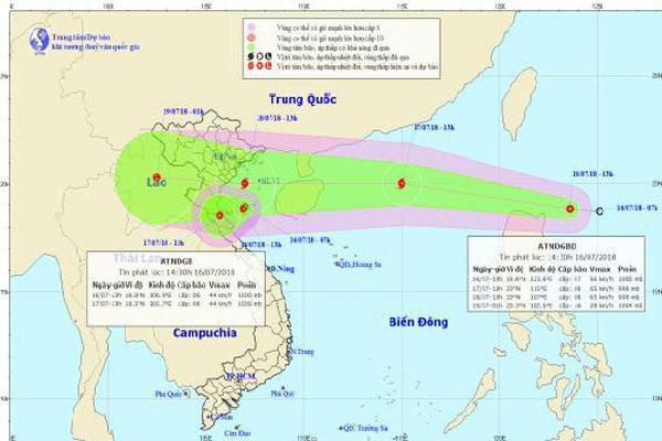 Áp thấp nhiệt đới đang hướng về Thanh Hóa - Hà Tĩnh