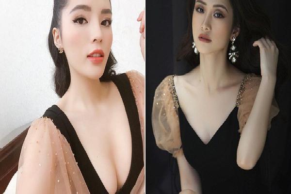 Diện cùng 1 kiểu váy yểu điệu, vòng 1 cũng đều qua 'dao kéo', thế mà trông Jun Vũ vẫn e ấp hơn Kỳ Duyên nhiều phần