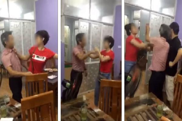 Bắt quả tang chồng dẫn cả nhà bồ trẻ đi ăn nhà hàng, vợ uất hận lao vào đánh ghen, bồ rút dép chống trả ầm ĩ
