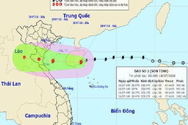 Bão Sơn Tinh tăng cấp, sẽ áp sát Thái Bình đến Hà Tĩnh