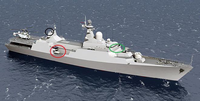 So sánh những điểm tương đồng giữa thiết kế tàu Gepard mang tên lửa Klub-N...