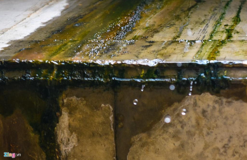 Nước mưa thấm dột từ nền đường cao tốc xuống trần cầu chui. Ảnh: Quảng Đà.