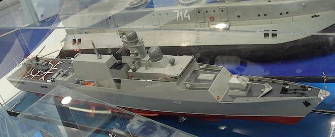 Cấu hình tàu hộ vệ tên lửa Gepard trang bị tên lửa Kalibr-NK ban đầu chào hàng cho Hải quân Nga.