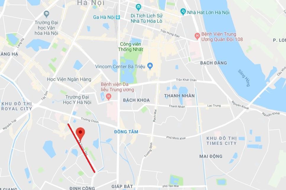 Đường Lê Trọng Tấn (Quận Thanh Xuân, Hà Nội, gạch đỏ), dài hơn 1,5 km. Ảnh: Google Maps.
