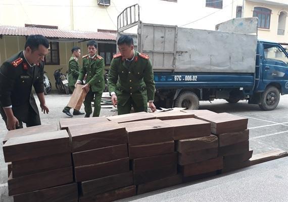 CA huyện Nguyên Bình đang tiến hành kiểm tra số gỗ tang vật (ảnh Nguyễn Thuấn)