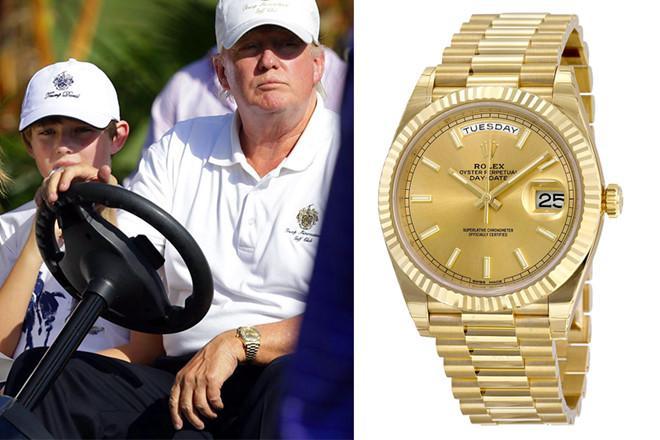 Có vẻ như Trump sở hữu chiếc Day-Date có mặt số màu champagne nhưng chưa rõ đồng hồ Rolex của ông là mẫu cổ điển hay hiện đại. Ảnh: Golf.