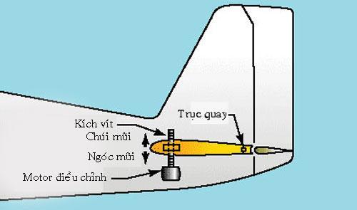Vị trí chiếc kích vít giúp điều chỉnh cánh đuôi ngang để máy bay ngóc đầu lên hoặc chúi mũi xuống. Đồ họa: AGS.