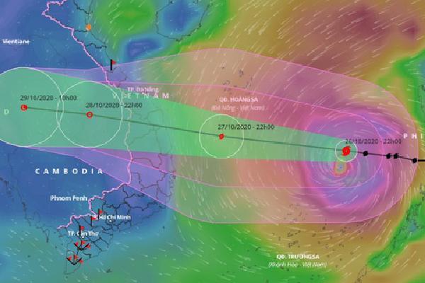 Dự báo đường đi của bão Molave trước khi vào đất liền