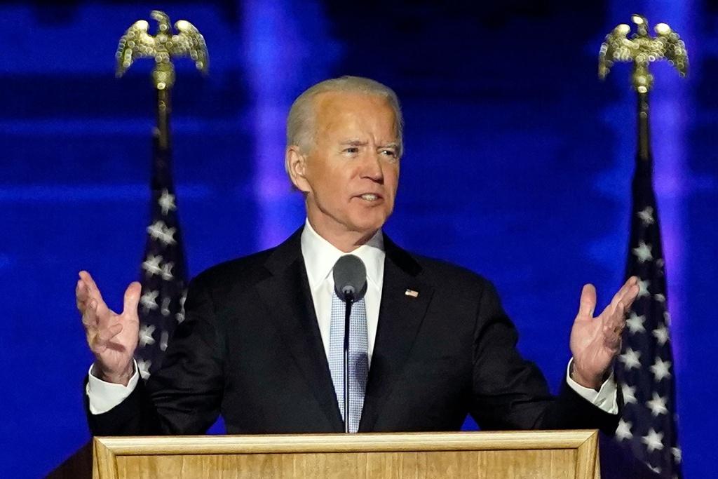 Ông Biden phát biểu từ bang nhà Delaware tối 7/11. Ảnh: AP.