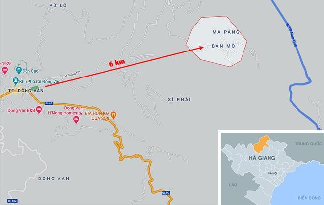 Thôn Bản Mồ cách trung tâm thị trấn Đồng Văn (Hà Giang) hơn 6 km. Ảnh: Google Maps.