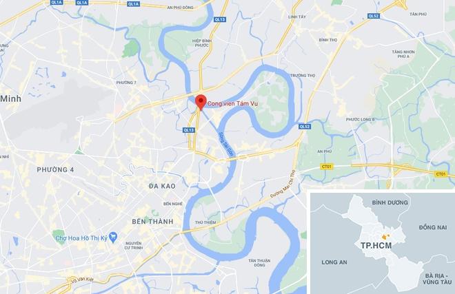 Thi thể được tìm thấy gần công viên Tầm Vu, quận Bình Thạnh, TP.HCM. Ảnh: Google Maps.