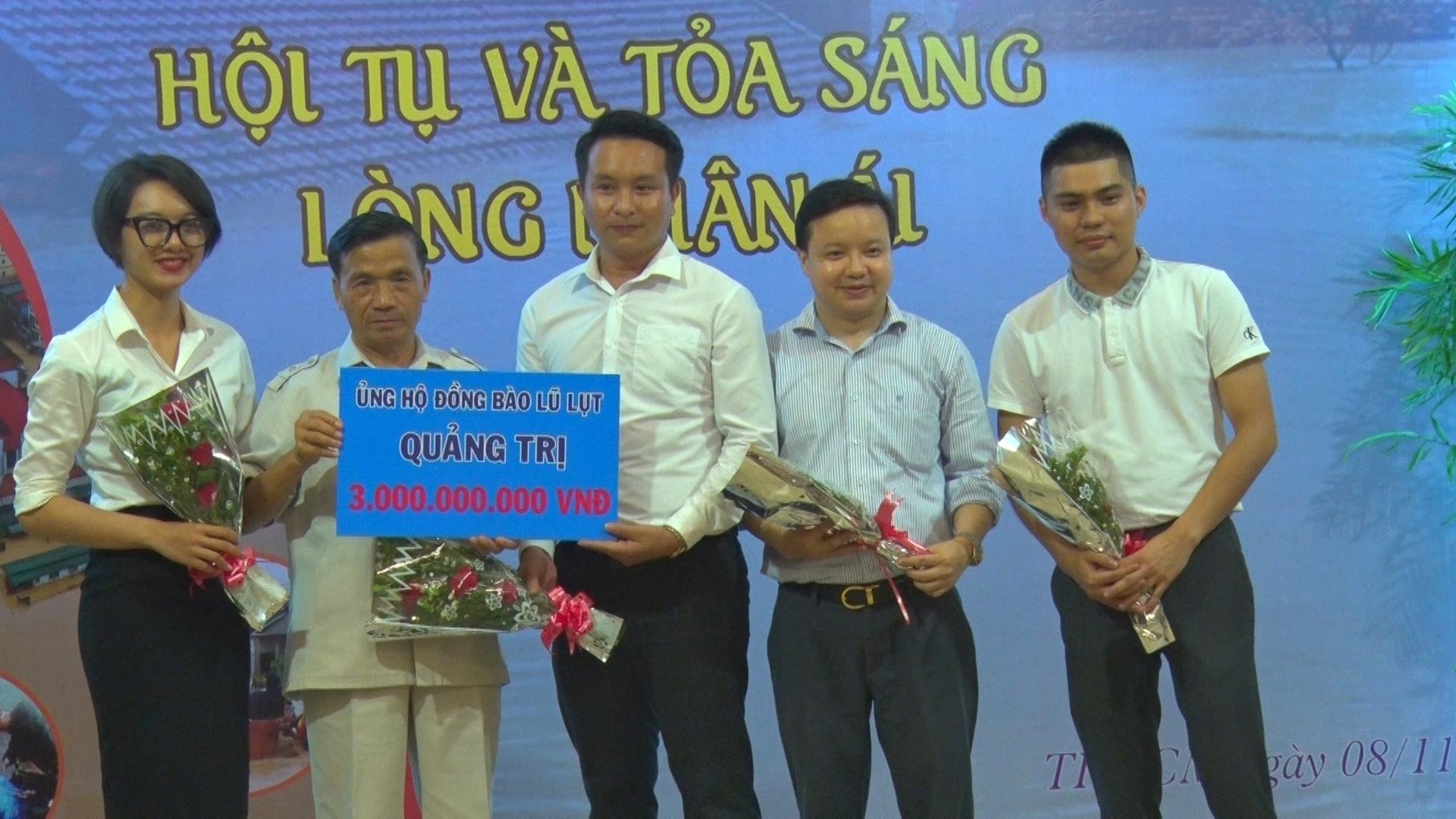 Tổ chức từ thiện Hoa Chia Sẻ của các doanh nhân trẻ người Quảng Trị tại TP. Hồ Chí Minh hỗ trợ 3 tỉ đồng -Ảnh: T.H