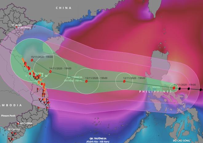 Dự báo đường đi của bão Vamco trong những ngày tới trên Biển Đông. Ảnh: VNDMS.