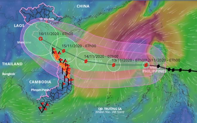 Dự báo đường đi của bão số 13. Ảnh: VNDMS.