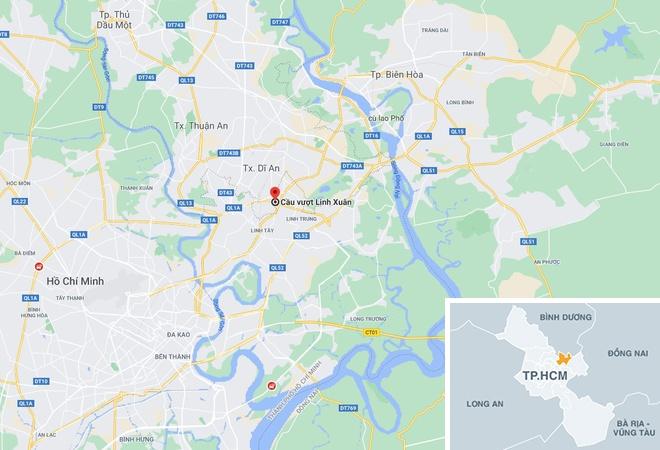 Vụ tai nạn xảy ra tại chân cầu vượt Linh Xuân, quận Thủ Đức, TP.HCM. Ảnh: Google Maps.
