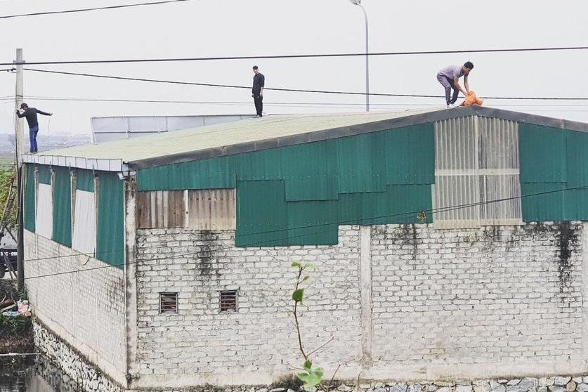 Người dân tại xã Thạch Hưng, TP.Hà Tĩnh dùng bao cát để lên mái nhà đề phòng tốc mái trước lúc bão vào.
