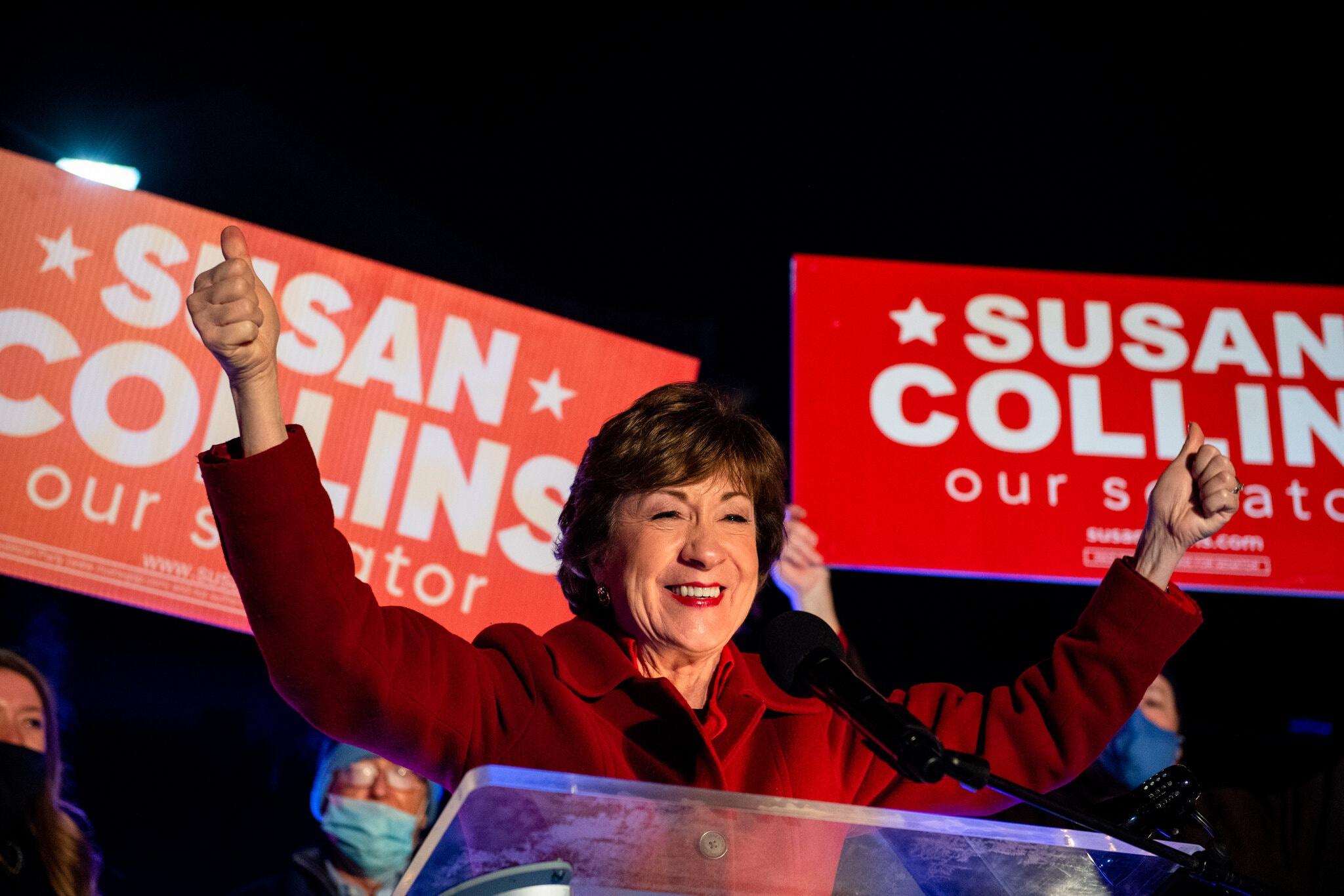 Thượng nghị sĩ Susan Collins tái đắc cử ở bang Maine dù trước đó bị dẫn trước trong các cuộc thăm dò dư luận. Ảnh: New York Times.