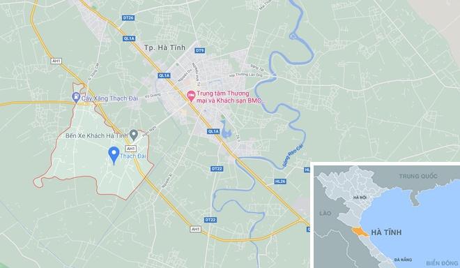 Xã Thạch Đài (huyện Thạch Hà, Hà Tĩnh, chấm xanh). Ảnh: Google Maps.