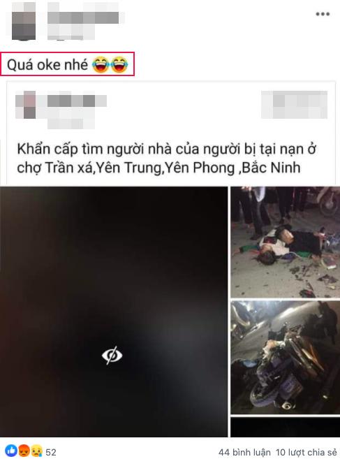 Cô gái tên T chia sẻ lại bài đăng về vụ tai nạn kèm caption gây phẫn nộ.