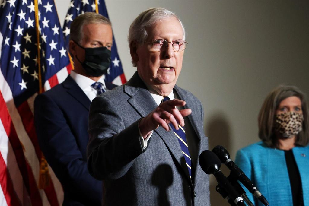 Lãnh đạo Đa số Thượng viện Mitch McConnell trong cuộc họp báo hôm 17/11. Ảnh: Reuters.