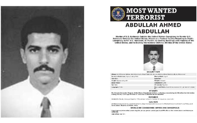 Chân dung Abdullah Ahmed Abdullah, hay còn được biết tới với tên gọi khác là Abu Muhammad al-Masri trong lệnh truy nã của FBI. Ảnh: FBI.