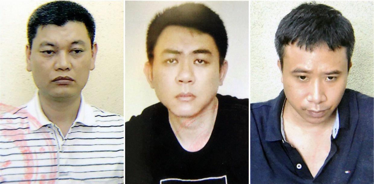 Các bị can Nguyễn Anh Ngọc (trái), Nguyễn Hoàng Trung (giữa) và Phạm Quang Dũng. Ảnh: Bộ Công an.