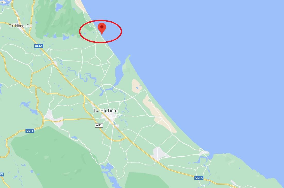 Sự việc xảy ra tại xã Thịnh Lộc (chấm đỏ), huyện Lộc Hà, Hà Tĩnh. Ảnh: Google Maps.