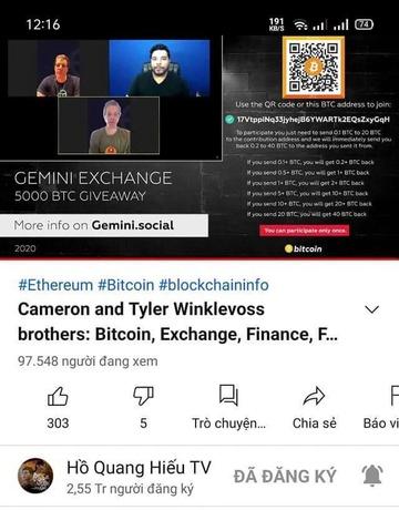 Ngày 20/11, kênh YouTube của ca sĩ Hồ Quang Hiếu cũng phát livestream tặng Bitcoin do bị lộ stream key. Ảnh: FBNV.