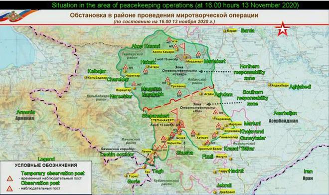 """Bản đồ phân chia các khu vực hoạt động """"Bắc"""" và """"Nam"""" của lực lượng Nga ở Karabakh hôm 13/11."""