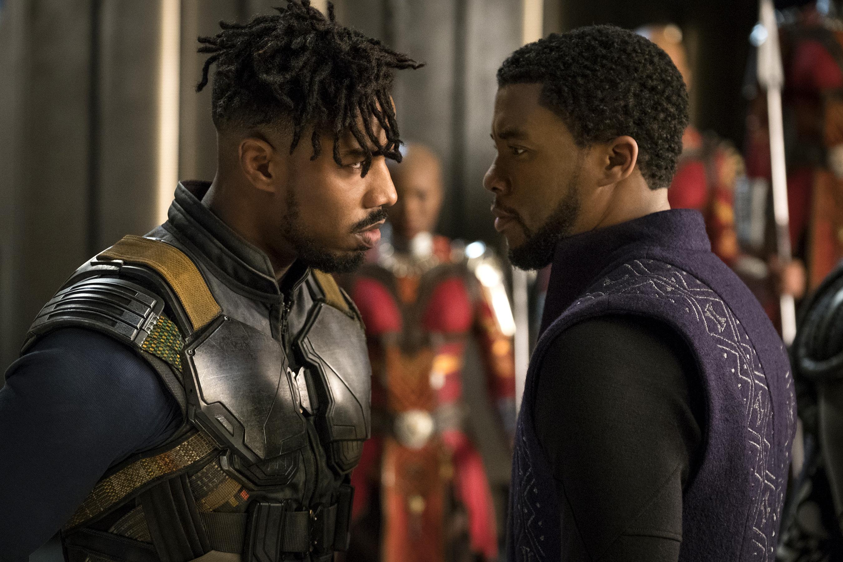 Tài tử Michael B. Jordan có màn thể hiện ấn tượng bên ngôi sao quá cố Chadwick Boseman trong Chiến binh báo đen. Ảnh: Marvel Studios.