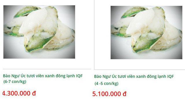 Bào ngư viền xanh đông lạnh nhập khẩu Úc có giá từ 4,3 - 5,1 triệu đồng.