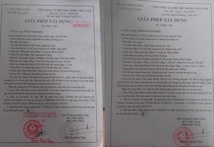Các công trình đã dược UBND huyện Kỳ Anh cấp giấy phép xây dựng